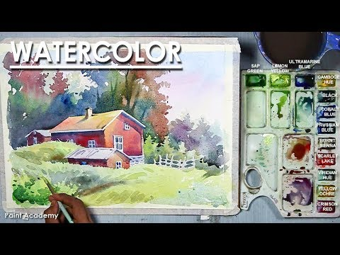 Beautiful Watercolor House Landscape Painting step by step