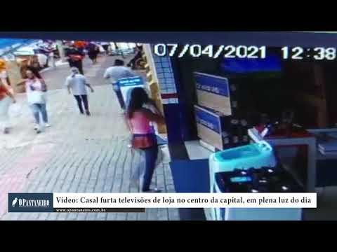 Vídeo: Casal furta televisões de loja no centro da capital, em plena luz do dia