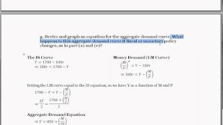 IS-LM Equations - Deriving Aggregate Demand Equation