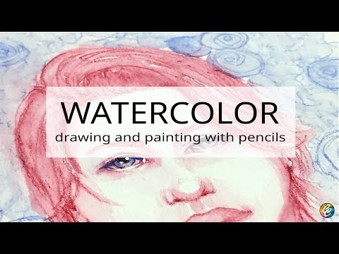painting a portrait with watercolor pencils