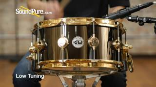 DW 6.5x14 Collectors Black Nickel Over Brass Snare Drum - Gold Hardware, Quick n' Dirty