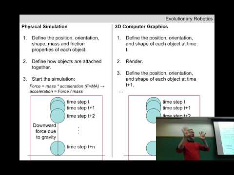 Evolutionary robotics Lecture 06: Physical simulation. (Recorded Feb 1, 2018)