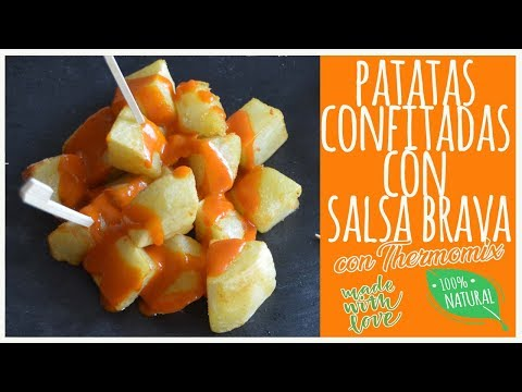 Patatas confitadas con salsa brava