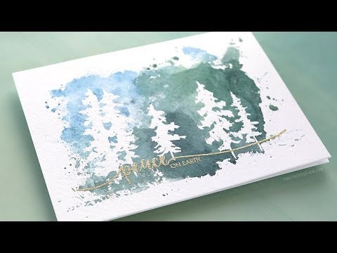 Holiday Card Series 2017 – Day 20 – Masking Fluid Trees
