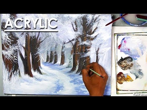 Snowy Winter Forest- Acrylic Painting, step by step Artist-Composer: Supriyo