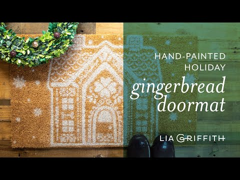 Hand-Painted Holiday Gingerbread Doormat
