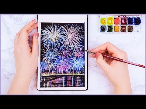 Easy Way How to Paint Watercolor Fireworks For Beginners! Art Journal Thursday Ep. 29