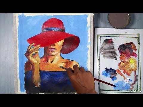 Lady with A Red Hat Acrylic Painting step by step