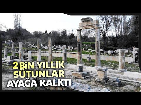 Muğla'da Lagina Hekate Alanındaki 2 Bin Yıllık Sütunlar Ayağa Kaldırıldı