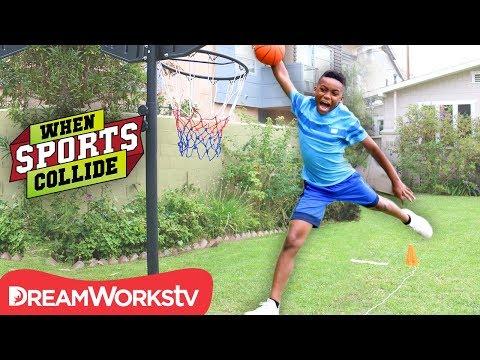 WHEN SPORTS COLLIDE | Long Jump Dunk (Basketball + Long Jump + Gymnastics)
