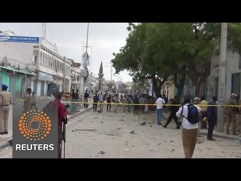 Bomb blast caught on camera as Somali militants attack hotel