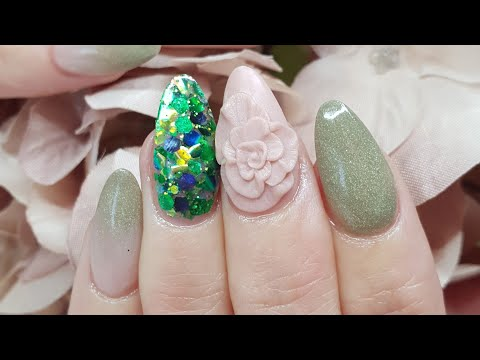 Simple Autumn Feel Acrylic Nails with a Big A$$ 3d Flower