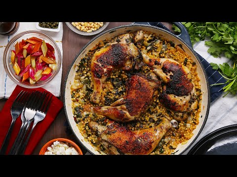One-Pan Chicken, Chard, And Couscous Dinner ? Tasty