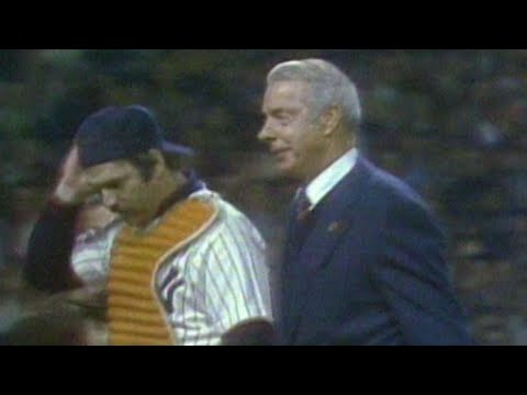 1977 WS Gm6: DiMaggio throws out the first pitch