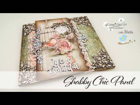 Shabby Chic Crackle Effect Mixed Media Canvas with Little Birdie ~ ✂️ Maremi's Small Art