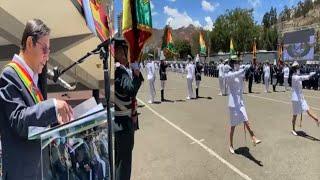 Así Luis Arce en el Colegio Militar del Ejército Graduación de subtenientes y alféreces FFAA Bolivia