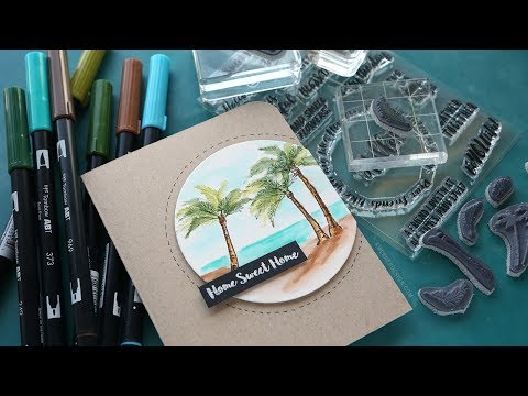Watercolor Stamps from Art Impressions - Palm Tree Beach Scene