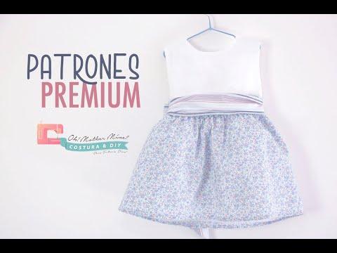 PATRONES: Vestido combinado rayas y flores (tallas de 9 meses a 8 años)