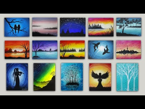 15 Silhouette Acrylic Paintings: Time-lapse Painting Gallery