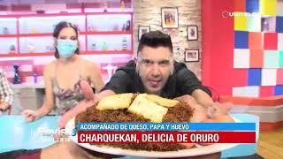 Diego degustó un delicioso charquekan para celebrar el aniversario de Oruro