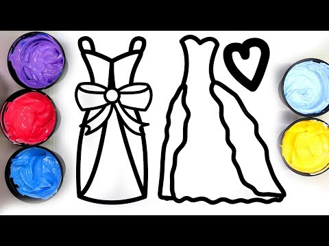 Painting pretty dresses for girls, dress coloring pages for children, learn to color with paint