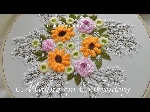 Bouquet of flowers   Happy Mother's Day   wool flowers   Hand Embroidery
