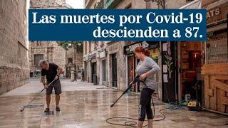 Las muertes por Covid-19 en España descienden a 87, la cifra más baja en los últimos dos meses
