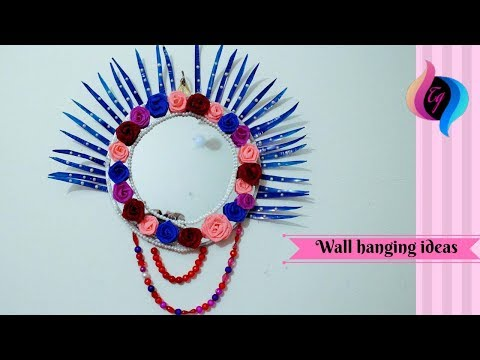 Craft wall hanging ideas - Plastic bottle mirror wall hanging - Best out of waste