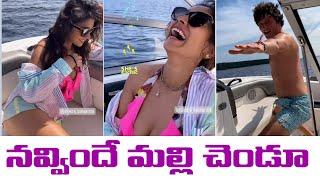 Shriya Saran laughing at Her Husband Andrei Koscheev`s  feats in the Boat. - IGTELUGU