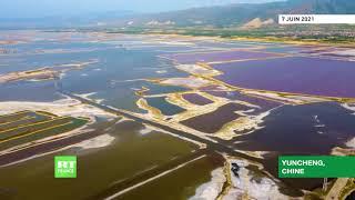 La nature, cette artiste : le lac salé de Yuncheng en Chine se mue en œuvre