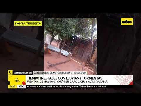 Vientos alcanzaron los 91 km/h en Caaguazú y Alto Paraná, dicen desde Meteorología