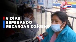 ????????Mujer lleva 6 días esperando recargar oxígeno para su esposo con COVID-19