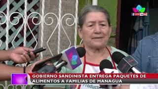 Gobierno de Nicaragua entrega paquetes de alimentos a familias de Managua