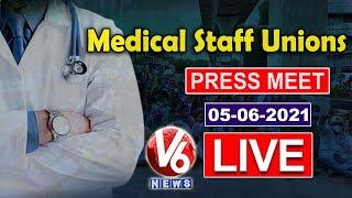Medical Staff Unions JAC Press Meet LIVE   V6 News - V6NEWSTELUGU