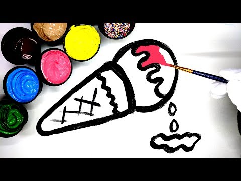 How to draw an Ice Cream with Paint, Learn Colors for Kids, painting juice box coloring pages