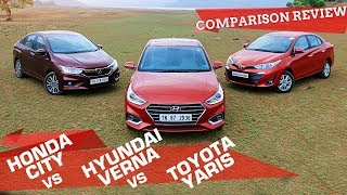 Toyota Yaris vs Honda City vs Hyundai Verna |  Automatic Choice? | Petrol AT Comparison Review