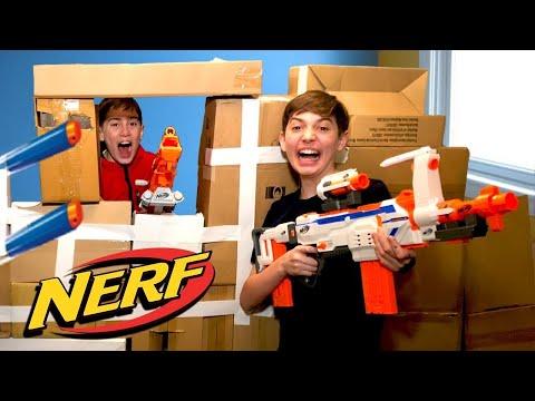 Nerf War Box Fort - Kids Action Movie
