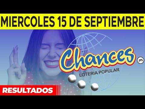 Sorteo Lotería popular Chances del Miércoles 15 de septiembre del 2021