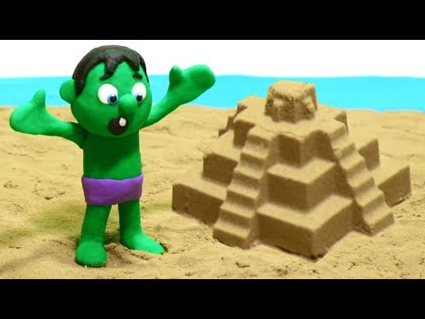 connectYoutube - Paw Patrol & Hulk Playing in the Sand Castles - Superhero Babies Cartoons Play Doh Stop Motion