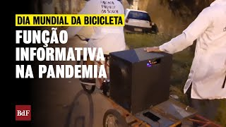 Bicicletas com caixas de som levam informações sobre prevenção ao coronavírus