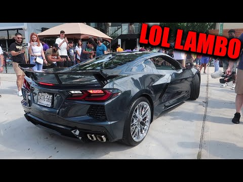 LAMBO OWNER THOUGHT HE WAS COOL...UNTIL A C8 CORVETTE SHOWED UP!!!