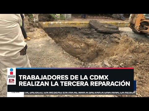 Se abre otra vez socavón en Eje 1 Norte y Oceanía tras haber sido reparado dos veces