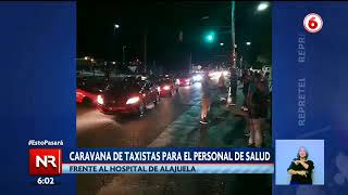 Caravana de taxistas frente al Hospital de Alajuela
