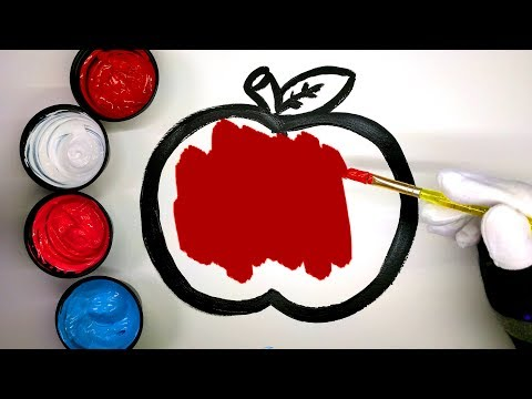 How to draw an apple with Paint, painting apple coloring pages, LEARN COLORS, learn to color apple 💜