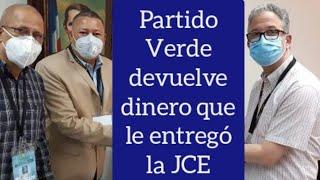 Partido Verde Dominicano devuelve el dinero no gastado a la Junta Central Electoral