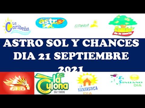 Resultados del CHANCES DIA de martes 21 septiembre 2021 ASTRO SOL DIA LOTERIAS DE HOY resultados