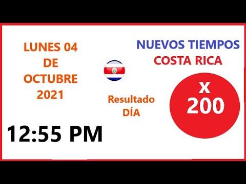 Resultados Nuevos Tiempos Costa Rica 12:55 pm Sorteo hoy lunes 4 de octubre de 2021