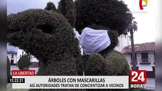 La Libertad: municipalidad de Huamachuco coloca mascarillas en árboles de la Plaza de Armas