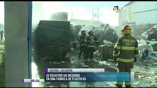 Se registra incendio en fábrica de plásticos de Calderón