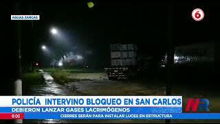 Policía intervino bloqueos en San Carlos: Debieron lanzar gases lacrimógenos